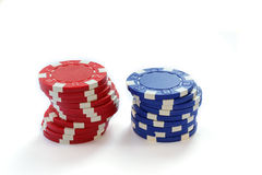 Colorful Poker Chips Isolated On White In Study Stock Image