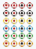 Colorful poker chips sets Stock Photos