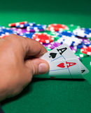 Colorful poker chips and two Ace Royalty Free Stock Photo