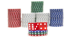 Colorful poker chips with two red dice Stock Photo
