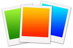 Colorful polaroids. In green, orange and blue (copyspace provided Stock Photos
