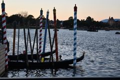 Colorful poles in water stock image