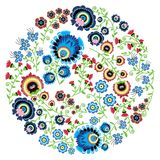 Colorful Polish folk inspired traditional floral pattern in the full moon shape. Circle shape vector illustration