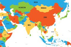 Colorful political map of western, southern and eastern Asia. Simple flat vector illustration stock illustration