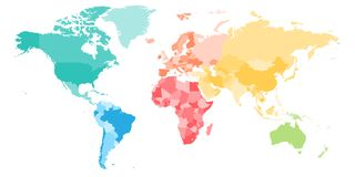 Colorful political map of World divided into six continents. Blank vector map in rainbow spectrum colors Royalty Free Stock Photos