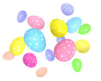 Colorful polka dot Easter eggs in pink, blue, and yellow pastel shades Stock Images