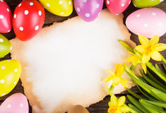 Easter eggs and card Stock Photography
