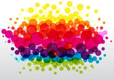 Colorful polka dots background. Background with transparent bright bubbles Royalty Free Stock Images