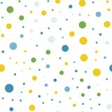 Colorful polka dots pattern on black background. Radiant classic colorful polka dots textile pattern. scattered confetti fall chaotic decor. Abstract vector Stock Illustration