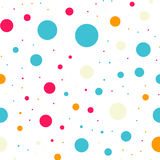 Colorful polka dots seamless pattern on black 18. Colorful polka dots seamless pattern on black 18 background. Lovely classic colorful polka dots textile Stock Photo