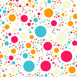 Colorful polka dots seamless pattern on black 18. Colorful polka dots seamless pattern on black 18 background. Marvelous classic colorful polka dots textile Royalty Free Stock Image