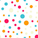 Colorful polka dots seamless pattern on black 18. Colorful polka dots seamless pattern on black 18 background. Pleasing classic colorful polka dots textile Royalty Free Stock Photos