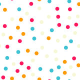 Colorful polka dots seamless pattern on black 18. Colorful polka dots seamless pattern on black 18 background. Pretty classic colorful polka dots textile Stock Image