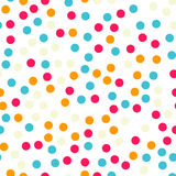 Colorful polka dots seamless pattern on black 18. Colorful polka dots seamless pattern on black 18 background. Splendid classic colorful polka dots textile Royalty Free Stock Images