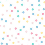 Colorful polka dots seamless pattern on white 9. Colorful polka dots seamless pattern on white 9 background. Pleasing classic colorful polka dots textile Stock Photos
