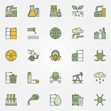 Colorful pollution icons Royalty Free Stock Photography