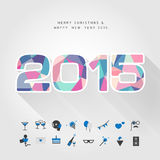 Colorful polygon 2015 merry christmas and happy new year with pa. Rty icon vector Stock Images