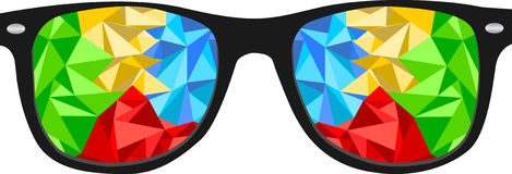 Colorful polygon nerd glasses Royalty Free Stock Photo