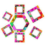 Colorful polygon and square frames Royalty Free Stock Photography