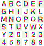 Colorful polygonal font and number. For various use Royalty Free Illustration