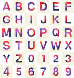 Colorful polygonal font and number. For various use Vector Illustration