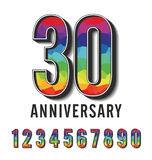 Colorful polygonal numbers anniversary collection Stock Images
