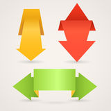 Colorful polygonal origami arrows. Colorful polygonal origami arrow banners. Place your text here Stock Photography