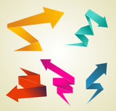 Colorful polygonal origami arrows Royalty Free Stock Photo