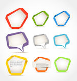 Colorful polygonal origami speech clouds Stock Photography
