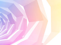 Colorful polygonal tunnel perspective, 3d render Royalty Free Stock Photos