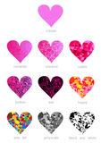 Colorful polygons hearts Royalty Free Stock Images