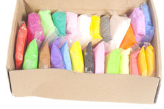 Colorful polymer clay in box royalty free stock photos