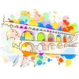 Colorful Pont du Gard Sketch. Hand Drawn Vector Illustration, Paint Splatter Color Isolated on White Background. Business Travel and Tourism Concept with Stock Photography
