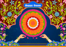 Colorful pookalam flower rangoli for Happy Onam Royalty Free Stock Images
