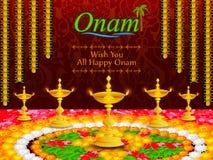 Colorful pookalam flower rangoli for Onam festival of Kerala Royalty Free Stock Images