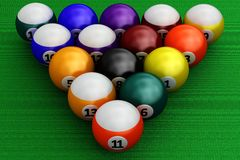 Colorful pool balls over green Royalty Free Stock Photography