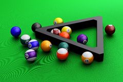 Colorful pool balls over green Stock Images