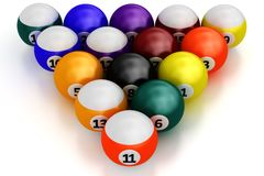 Colorful pool balls over white Royalty Free Stock Image