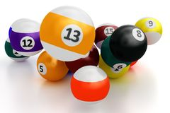 Colorful pool balls over white Royalty Free Stock Photos