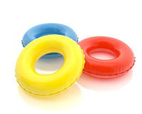 Colorful pool rings isolated on white background Royalty Free Stock Images