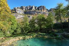 Colorful pools in Orbaneja del Castillo, Burgos, Spain. River forming two pools at different levels and different shades of blue in Orbaneja del Castillo, Burgos royalty free stock photography