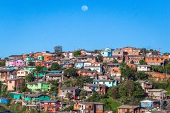Colorful houses in the slum. stock images