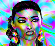 Colorful pop art image of woman`s face. This is a 3d rendered digital art image of a close up woman`s face in pop art style. A modern, abstract, punk look that Royalty Free Stock Photo