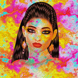 Colorful pop art image of woman`s face. This is a 3d rendered digital art image of a close up woman`s face in pop art style. A modern, abstract, punk look that Stock Image