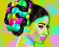 Colorful pop art image of a woman`s face. This is a digital art image of a close up woman`s face in pop art style. A modern, abstract, punk look that`s sexy Royalty Free Stock Image