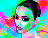 Colorful pop art image of a woman`s face. This is a digital art image of a close up woman`s face in pop art style. A modern, abstract, punk look that`s sexy Royalty Free Stock Images