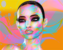 Colorful pop art image of a woman`s face. This is a digital art image of a close up woman`s face in pop art style. A modern, abstract, punk look that`s sexy Stock Photo