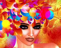 Colorful pop art image of a woman`s face. This is a digital art image of a woman`s face close up in pop art style. A modern, abstract, punk look that`s sexy Royalty Free Stock Photos