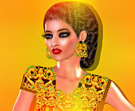 Colorful pop art image of woman`s face with fashion cosmetics, gold background. Stock Image