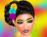 Colorful pop art image of woman`s face with flowers in hair. This is a 3d rendered digital art image of a close up woman`s face in pop art style. A modern Royalty Free Stock Photo